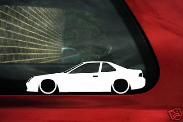 2x LOW Honda Prelude JDM 2.2 Vtec, VTi, BB5, silhouette, outline, stickers, decals